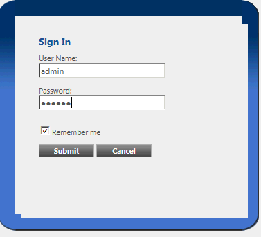Administration sign-on dialog
